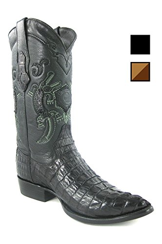 Cuadra Crocodile Leather Cowboy Boots for Men Schwarz