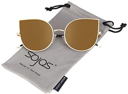 Sojos cat occhio lenti a specchio piatto ultra sottile donne ultra light struttura in metallo occhiali da sole sj1022 a specchio lente con oro lente