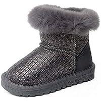 zj Botas de Nieve Infantiles de Invierno, Zapatos de Algodón para Bebés, Además de Terciopelo Grueso, Zapatos Casuales, Zapatos Ligeros de Moda,Gris,29