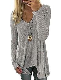 Biback Damen Casual Übergröße Mode Lose Leinen Kurzarm Shirt Vintage Bluse  Fest Leisure Knittedwear Hemd Lang 1e6110bfcb