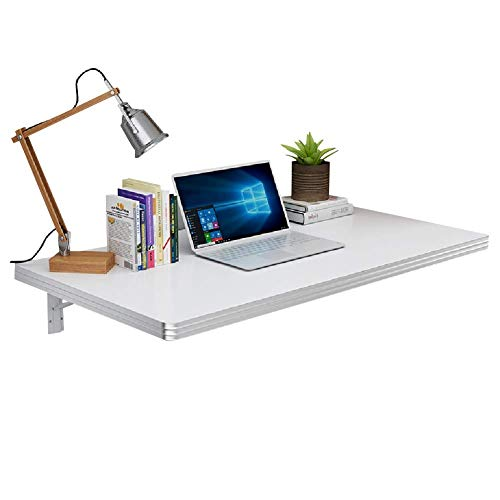 PAPA Kinder-Computertisch aus Holz klappbarer Wand-Bartisch Schreibtisch für die Wohnküche Weiß Stahlhalterung (Größe: 80 & Times; 40 cm)