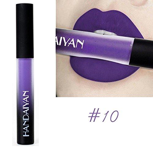 Weisy 12 Farben Liquid Lipstick Dauerhaft Wasserdicht Langlebig Lip Gloss Pigment Dunkel Lila Schwarz Red Samt Matte (Liquid Lip Gloss)