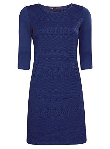 oodji Collection Femme Robe en Maille à Manches 3/4 Bleu (7500N)