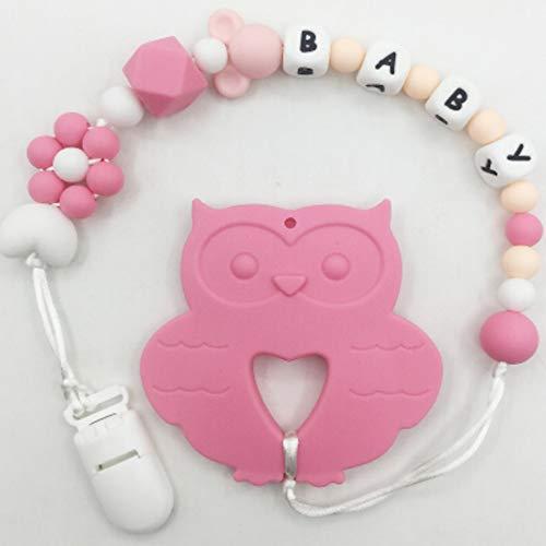 Personalisierte Name Beißring Schnuller Clip Eule Kinderkrankheiten Spielzeug Baby Carrier Food Grade Schmuck Baby Schnuller Clip Inhaber