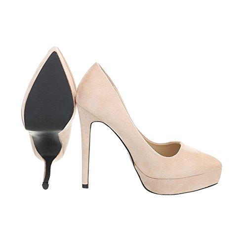 Ital-Design Scarpe da Donna Scarpe Col Tacco Tacco a Spillo Scarpe con Tacco Alto beige 5015-75