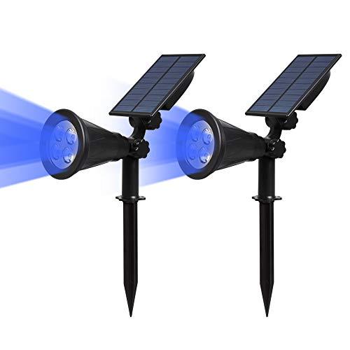 (2 Pezzi) T-SUN Luci Solari da Giardino, 4 LED Lampade Solari da Esterno Wireless, 2 Modalità Funzione, Impermeabile Lampioni da Sicurezza Solari per Parete, Casa, Corraio ecc.(Blu)
