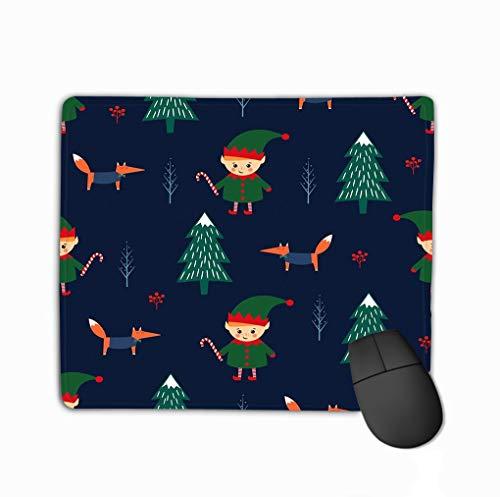 Mouse pad christmas tree elf candy cane fox seamless pattern dark blue background cute winter holidays background baby design steelseries keyboard