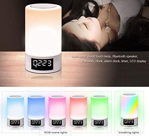 Willlly Led Touch Nachttische Wireless Bluetooth Lautsprecher Smart Touch Control Dimmbare Nachtlicht Tragbare Tische Geschenke Frauen Jugendliche Kinder Schlafhilfe (Color : Colour-Size)