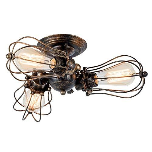 Drei Licht-insel Kronleuchter (Industrielle Vintage Semi Unterputz Leuchte Licht drei Köpfe Deckenleuchte Kronleuchter Deckenleuchte Eisengitter Abdeckung für Küche Insel Wohnzimmer Schlafzimmer Pendelleuchte)