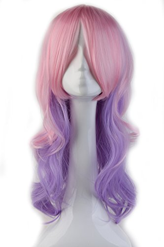 "S-noilite 24""/60CM Womens Long Curly Anime Full Wig mix Pink Purple Hair Wig for Daily Party Cosplay Costume Halloween"