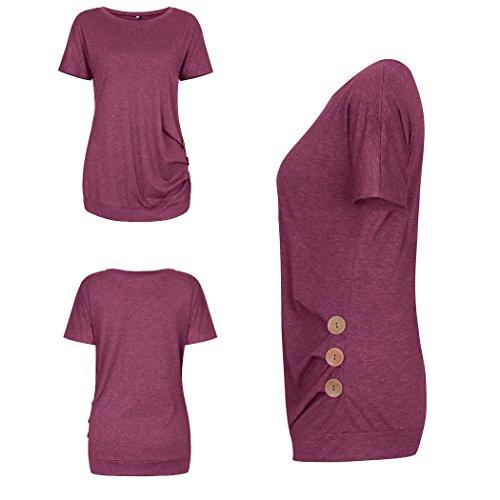 ECOWISH Langarmshirt Damen Pullover Frühling Knopf Rundhals Tshirt Hemd Oberteile Tops Wein Rot2