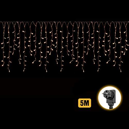 Salcar 5m LED Lichtervorhang Eisregen + 3m Netzkabel, dekorative LED Lichterkette mit 200 spritzwassergeschützten LEDs, 31V Sicherheitsnetzteil, 8 Betriebsmodi mit Memory-Funktion - Warmweiß