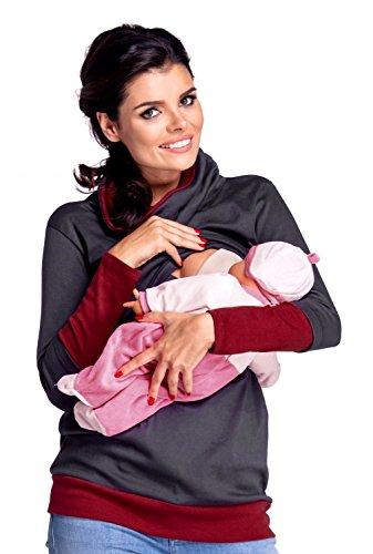 Zeta Ville - Sweat-shirt allaitement maternité détails contraste - femme - 348c Graphite & Cramoisi