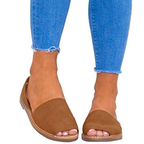 Sandalen Damen Sommer Sandaletten Flachen Frauen Knöchelriemchen Espadrille Plateau Flip Flop Sommersandalen Bequeme Elegante Schuhe Schwarz Weiß Rosa Gr.34-44 BR42