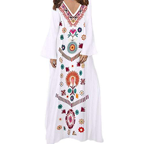 Tonsee Robe pour Femme, Fashion Sexy Robe imprimée à Manches Longues col v Maxi Hem Baggy Kaftan Robe Longue