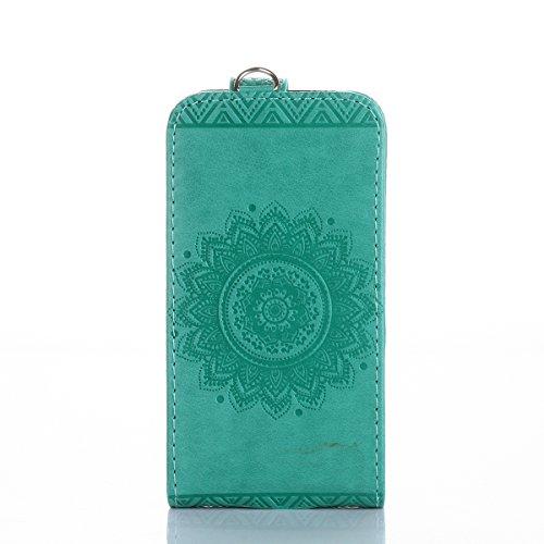 Custodia per iphone 7 Portafoglio, iphone 7 Cover a libro, MoreChioce Lusso Bookstyle Rigida Vintage Flip PU Pelle Leather Cover Ragazza Ragazzo Moda (Su e giù per aprire e chiudere Design) Modello Ma Verde