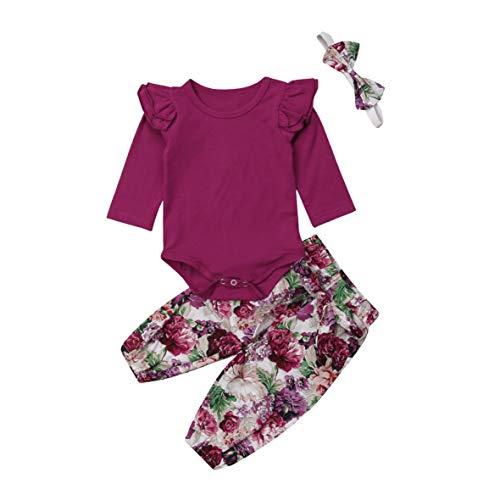 Neugeborenes Baby Lässige Kleidung Set Langarm Strampler Spielanzug + Floral Hose + Stirnband 3 Stück Baby Outfits 0-24 Monate (0-6 Monate, rot 2) (Baby-kleidung Rot Neugeborenen)