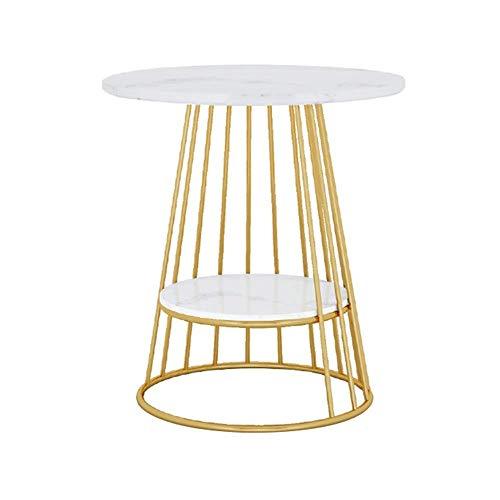 Klapptisch Wohnzimmer Sofa Beistelltisch, Marmortischplatte, Gold Metal Base, Schwarz/Weiß, 47 * 62cm (Farbe: Weiß) - Fertig Metal Base