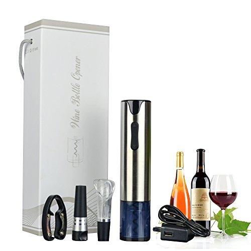 Hopeu5 cavatappi elettrico professionale in acciaio inox, apri vino con taglierina a lamina, versatore, tappo del vino vuoto in silicone e cavo dati (argento)