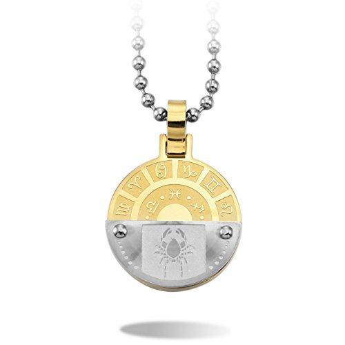 MeMeDIY Silber Golden Ton Edelstahl Anhänger Halskette Krebs Horoskop Tierkreis Sternzeichen ,mit 58cm Kette - Kundenspezifische Gravur