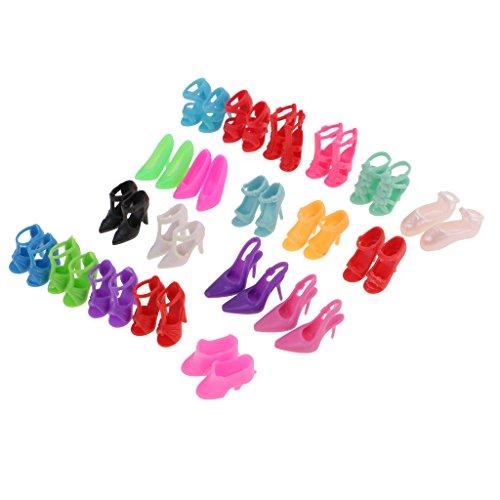 MagiDeal 20 Paar modische High Heel Schuhe Sandalen für Barbie Puppe Zubehör ( Zufällige Lieferung ) 18-zoll-puppe High Heel-schuhe