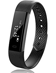 JoyGeek Smart Bracelet, Smart Watch, Fitness Tracker with Wireless USB Charging Pedometer Sleep Monitor and Call/SMS Reminder for iPhone 6/6 plus/7/7 plus Samsung S7/note 7/S8 Huawei Mate 9/P9/P10