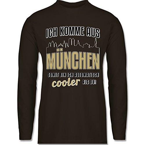Shirtracer Städte - Ich Komme Aus München - Herren Langarmshirt Braun