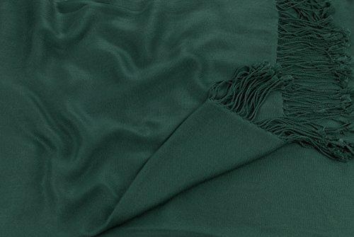 CJ Apparel Châle Népalais Pashmina écharpe la Couverture Conception de Couleur Unie Secondes Vert Foncé
