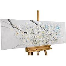 KunstLoft® cuadro acrílico 'El comienzo de la primavera' 150x50cm | Original pintura XXL pintado a mano en lienzo | Rama árbol flor flores blancas | Mural acrílico de arte moderno con marco