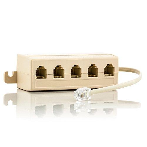 Saxonia. RJ14 Splitter mit Kabel Telefonkabel 5x Verteiler | 5 Steckplätze für den Anschluss von Telefonen Faxgeräten Modems mit zwei Leitungen | Kupplung LAN ISDN Adapter Ethernet Netzwerk Telefon-splitter