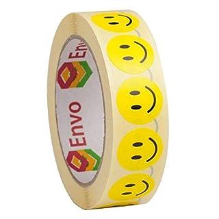 Smiley Aufkleber Rund 25mm Gelbe Runde Etiketten Smiley Sticker 25mmn - 1,000 Stück