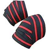 Knee Wraps Fitness Weight Lifting Sports 2 PCS - Black/Red