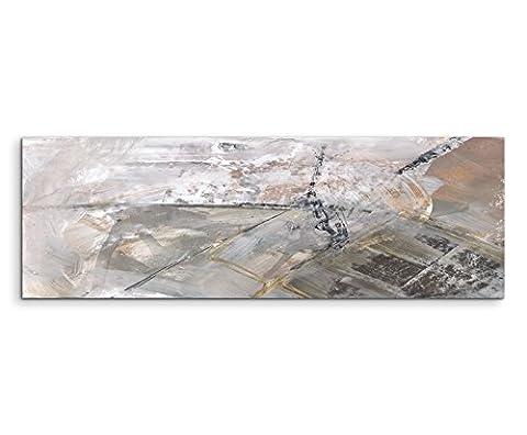 120x40cm Panoramabild abstrakt Leinwanddruck Kunstdruck Wandbild grau schwarz weiß Schlieren