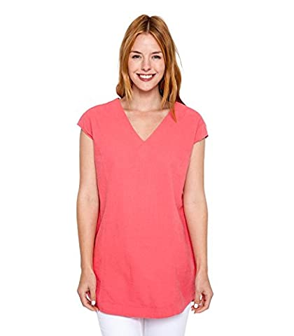 WoolOvers Womens Linen and Cotton V Neck Tunic Coral, XXL