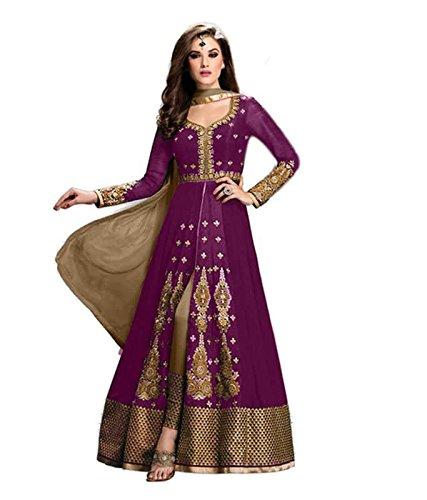 FebForrest Womens\'s Purple Georgette Attractive Fusion Dress Materials/Salwar Suit (Free Size) [JCN 1002E (FF_E1)]