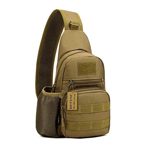 Huntvp Taktisch Brusttasche Military Schultertasche mit Wasserflasche Halter Chest Sling Pack Molle Armee Crossbody Bag Militärisch Umhängetasche Mini Single Strap Rucksack für Reisen Wandern Camping -
