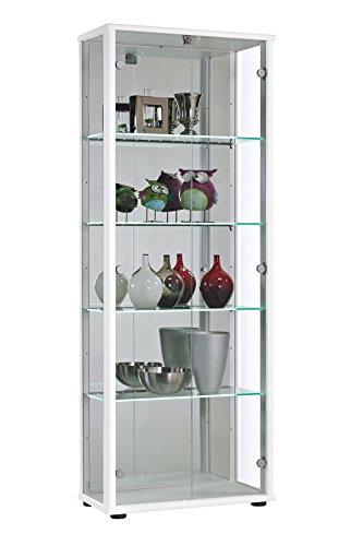 Glasvitrine Sammlervitrine Vitrine Weiß LED Glasboden-Beleuchtung Schloss Rückwand mit Spiegel ESG