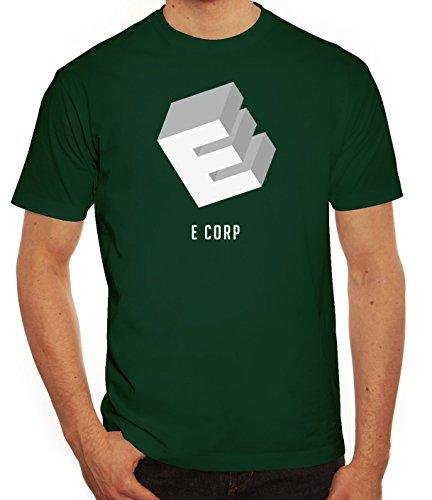 Hacker Serie Herren T-Shirt mit Ecorp Motiv von ShirtStreet Dunkelgrün