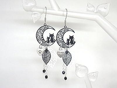 Boucles d'oreilles chats lune noir blanc argenté love my cat feuilles perles idée cadeau femme