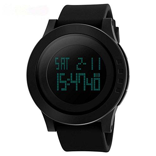 Vemupohal Herren Digitaluhr Militär Sportuhren Uhr Big Face 5ATM Wasserdichte Uhren für Herren mit Hintergrundbeleuchtung Schwarz
