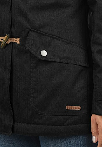 DESIRES Brooke Damen Winterjacke Dufflecoat Parka Mit Stehkragen Und Kapuze, Größe:S, Farbe:Black (9000) - 4