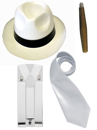 Hosenträger Gangster Kostüm - Gangster-Kostüm Herren - Hut/Krawatte/Hosenträger/Zigarre - 20er Jahre - Weiß