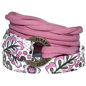 Wickelarmband in altrosa, rosa und weiß - onesize - Stoffarmband zum Wickeln - Handmade - Endlosarmband mit verschiedenen Metallelementen - LOVE HOPE FAITH