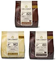 CALLEBAUT Ontvanger nr. 811, 823 en W2, couverture Callets, donkere chocolade, melkchocolade en witte chocolade, 400g - verp