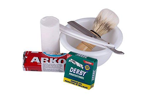 Rasurset WHITE CLASSIC: Rasiermesser, Rasurschale, Rasierseife Arko, Rasierpinsel, Rasierklingen Derby