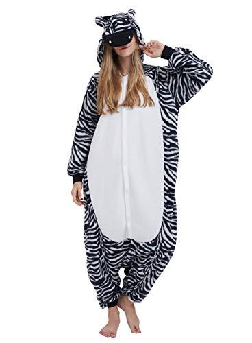 Zebra Kostüm Herren - Jumpsuit Onesie Tier Karton Fasching Halloween Kostüm Lounge Sleepsuit Cosplay Overall Pyjama Schlafanzug Erwachsene Unisex Zebra for Höhe 140-187CM