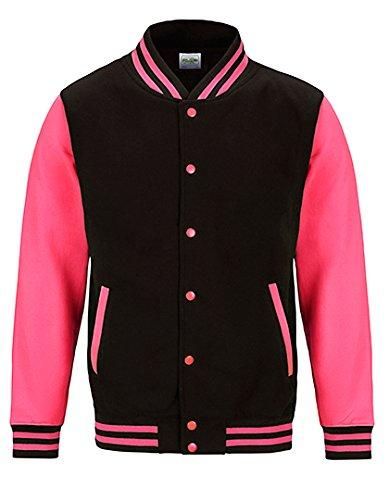 Veste College Femme Varsity Jacket Sweatjacket Jet Black/Electric Pink