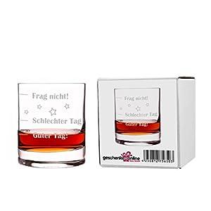 Whiskyglas mit Gratis Gravur - Guter Tag - Schlechter Tag - Frag nicht! - das Launebarometer als lustige Geschenkidee