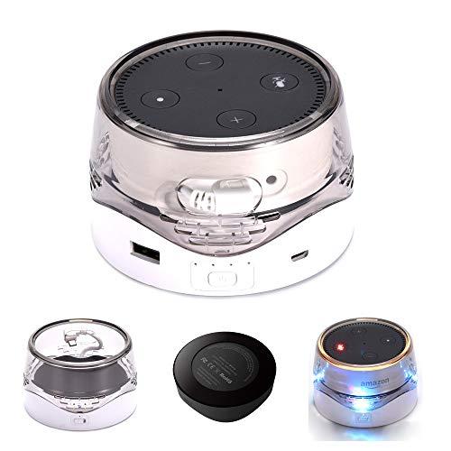 Modesty Tragbarer Akku Basis für Echo Dot 2, 6000mAh Smart Externe Batterie Base Wireless Charging mit USB zum Aufladen von Handys und Anderen Geräten weiß