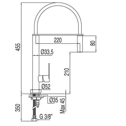Tres Griferia – Monomando Fregadero Vertical Max‑Tres Con Rociador Extraíble (130487)